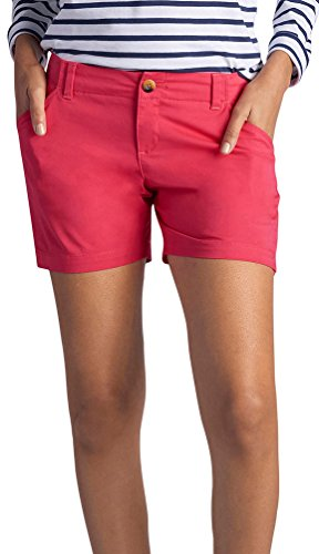Hibiscus Collection (Lee Women's Midrise Fit Essential Chino Short, Hibiscus, 10)