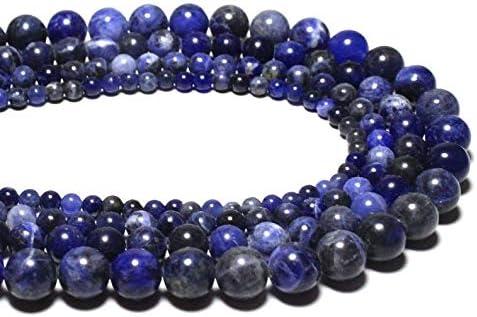 Jaipur Gems Mart AAA Natural 1 hebra de Piedras Preciosas Perlas sodalita Azul para Hacer la joyería | 10 mm Granos Redondos de sodalita Azul | Sodalita los Granos Flojos Redondos Lisos | Strand 15
