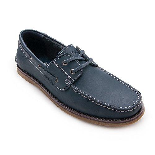 Zerimar Zapato Náutico de Piel Para Hombre Náutico Para Hombre Azul marino