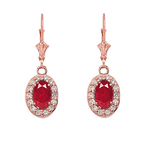Dazzling 14k Rose Gold Diamond and Oval-Shaped Ruby Leverback Earrings