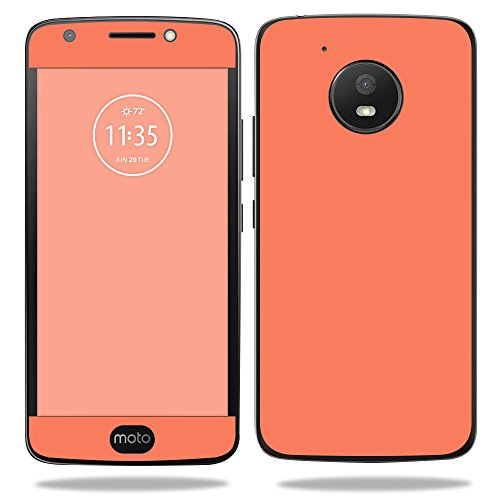 MightySkins Skin for Motorola Moto E4 - Solid Salmon | Protective, Durable, and Unique Vinyl Decal wrap Cover | Easy to Apply, Remove, and Change Styles | Made in The USA