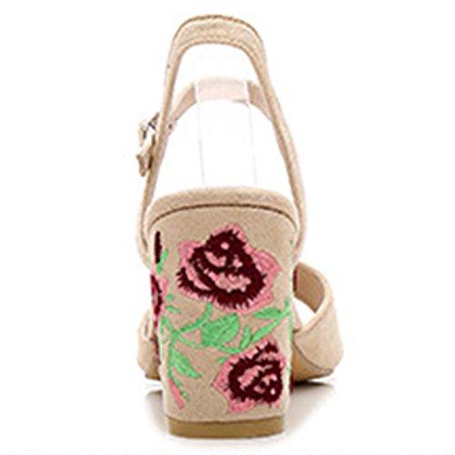 Azbro Mujer Moda Sandalias Floral de Tacón Fornido Correa Tobillo Puntera Abierta Negro