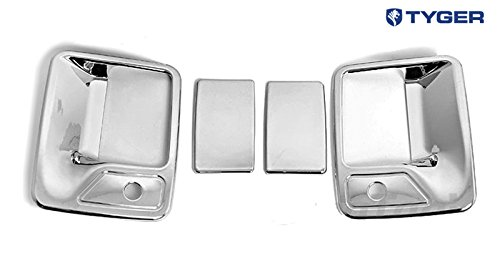 TYGER ABS Triple Chrome Plated Door Handle Cover 99-12 Ford F250//F350//F450 Super Duty 2 Doors With Passenger Side Keyhole