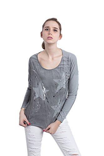 Abbino Futura Camisetas Tops para Mujer - Hecho en ITALIA - Colores Variados - Camisas Entretiempo Primavera Verano Otoño Manga Larga Vintage Fiesta Elegantes Fitness Interiores Rebajas Gris (Art. 9825c1)