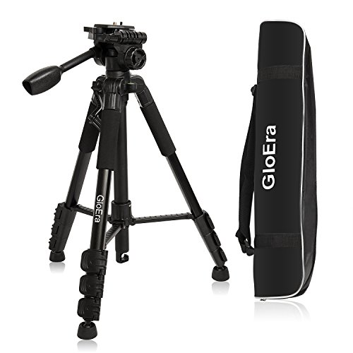 GloEra Camera Tripod Aluminum Portable Lightweight Camera Stand with Quick Release Mount for Canon Nikon Sony Samsung Olympus Panasonic Video Camcorder DSLR DV ()