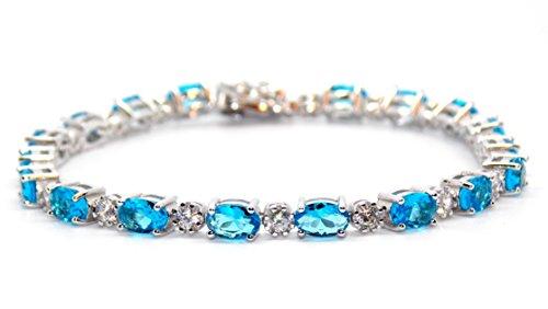Argent sterling topaze bleu Londres et Bracelet de Tennis de diamant 7.86CT (Argent 925)