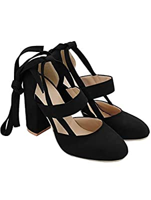 PRETTODAY Women's Thick High Heel Shoes Straps Pumps Black