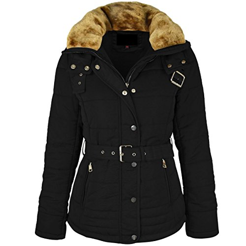 Fashion Thirsty Womens Winter Coat Puffer Faux Fur Hooded Belted Jacket Quilted Size (US 10-12, Black) (Black Belted Winter Coat)
