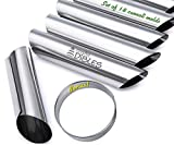 Cannoli Tubes Set of 18 with FREE Round Cookie cutter, 4.5 Inch. Stainless steel Canoli Forms, Pastry Mold Kit By CiE