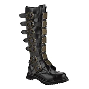 Summitfashions Mens Black Leather Combat Boots Steampunk Knee High Boots Buckles Mens Sizing