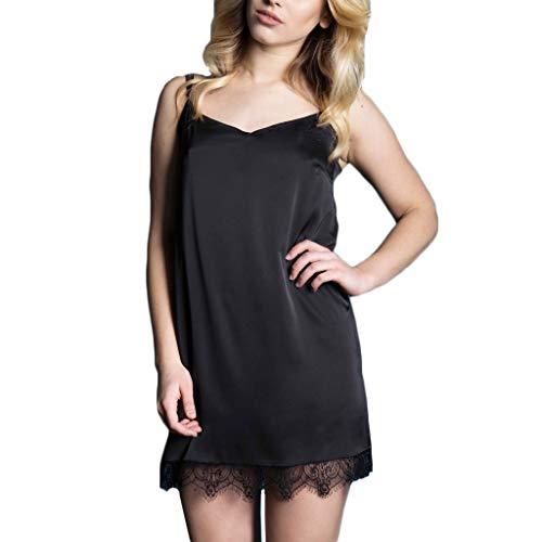 Sexy Nightgown Women's Satin Chemise Lace Trim Full Slip Spaghetti Strap Sleepwear Black