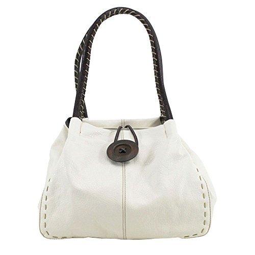 femmes DIVA à Bouton Orange Sac haute Large pour Blanc détail bandoulière UqEA5AwBn