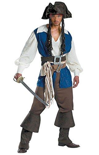 NewDong Men's Pirate Captain Costume Adult Halloween Cosplay Uniform (Halloween Pirate Man)