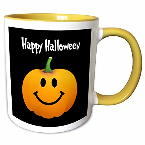 3dRose InspirationzStore Smiley Face Collection - Happy Halloween wish with orange pumpkin smiley face on spooky black Fun cute jack o lantern carving - 15oz Two-Tone Yellow Mug (mug_123155_13)