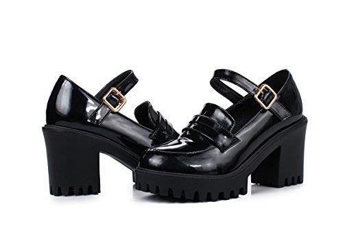 Show Shine Dames Gespen Chunky Hak Platform Oxfords Schoenen Zwart
