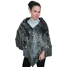 FursNewYork Large REX Chinchilla Rosette Knitted Shawl