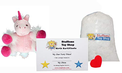 Make Your Own Stuffed Animal Mini 8 Inch Very Soft Pink Unicorn Kit - No Sewing Required! -