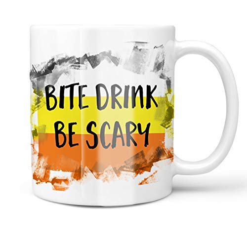 Neonblond 11oz Coffee Mug Bite Drink Be Scary Halloween Candy Corn with your Custom Name ()