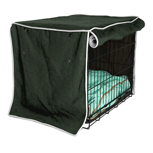 """Dog Crate Cover, Pet Kennel Cloth Cover, Universal Size 42"""" Lx31 Wx28 H, Heavy Duty Polyester Fabric, Windproof and Dustproof Protective Cover for Wire Crate Indoor Outdoor (L:42"""" Lx31 Wx28 H) -  Hersent"""