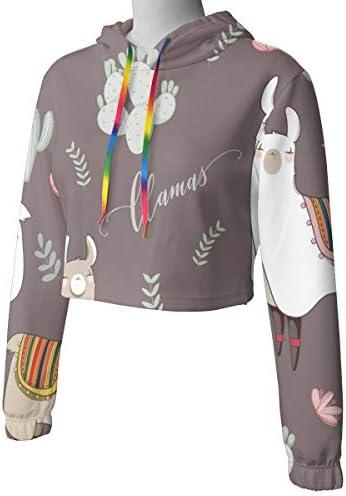 ラマで漫画スタイルの女性のカジュアルな長袖カラーブロックプルオーバースウェットシャツトップスポーツジムオフィススクール