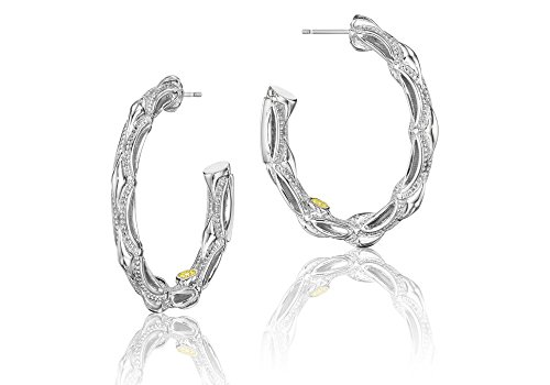Tacori SE130 Classic Rock Sterling Silver Crescent Hoop (Tacori 18k Earrings)