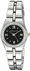 Anne Klein Women's AK/2089BKSV Swarovski Crystal Accented Silver-Tone Bracelet Watch
