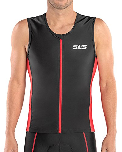SLS3 Triathlon Men`s FRT Tri Top | 2 Pockets | Full Zipper | Jersey | Triathlon Singlet | Tank | German Designed (Black/Red, L) ()