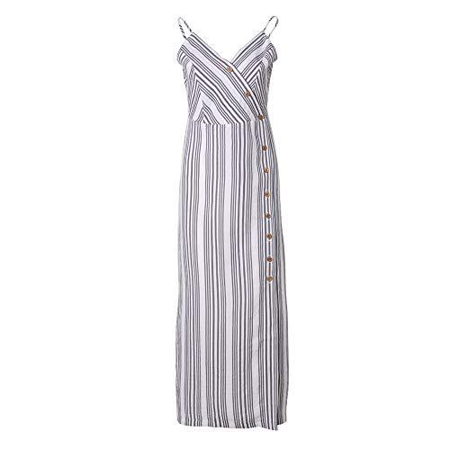 VERO VIVA Women's Spaghetti Strap V-Neck Striped Single Button Dress Side Split(M,Stripes)