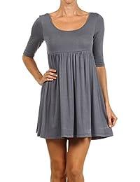 Fashion Stream Women's Plus & regular Size Solid 3/4 Sleeve Tunic Mini T-shirt Dress MADE IN USA
