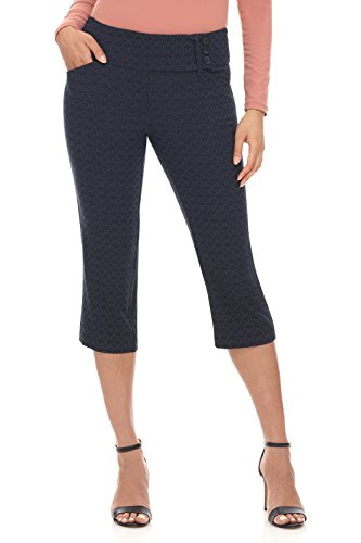 Rekucci Women's Ease into Comfort Wide Waist Capri with Back Lacing Detail (12,Navy Floral)