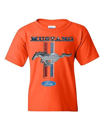 Ford Mustang Classic Youth T-Shirt GT Cobra Boss 302 Mach 1 Tee Orange M