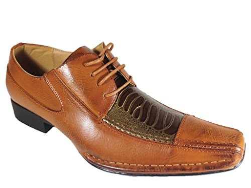 Picture of EX09 Men's Fashion Oxfords Lace up Dress Shoes with Alligator Prints