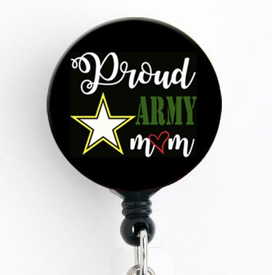 Proud Army Mom - Retractable Badge Reel with Swivel Clip and Extra-Long 34 inch Cord - Badge Holder/Military/Nurse Badge/Mom Badge/Teacher