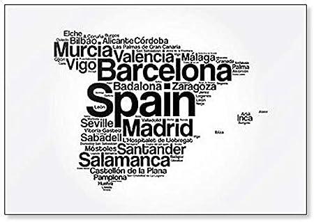 Lista de ciudades y pueblos en España, Word Cloud Collage, ilustración abstracta – Imán clásico para nevera: Amazon.es: Hogar