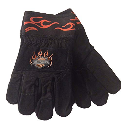 (Harley-Davidson Men's Leather Palm Made with Kevlar Motorcycle Riding Gloves, size Large )