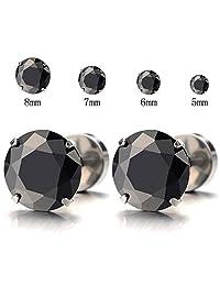 1 Pair 8MM Mens Black Cubic Zirconia Stud Earrings Stainless Steel Screw Back Post
