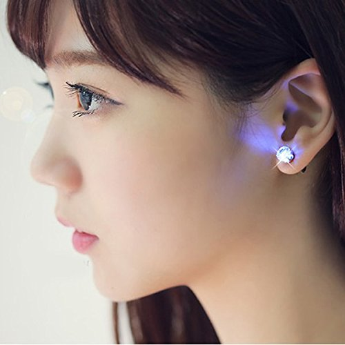 Ayamaya 9 Pairs LED Earrings Christmas Earring Dress up Glowing Light up Crystal Ear Stud Dance Party Accessories