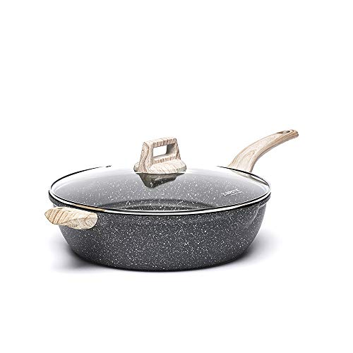 Carote 6.5-Quart Nonstick Saute Pan with Helper Handle, Deep Skillet with Cover, Non-Stick Jumbo Cooker Granite Coating…