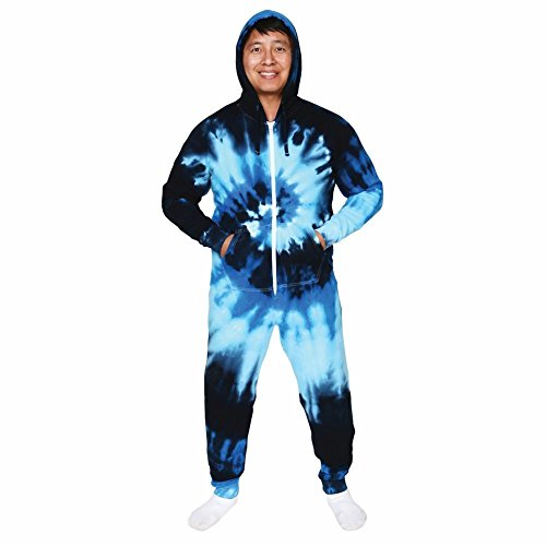 Unisex-Adult Tie-Dye Hoodie Sweatshirt Jumpsuit - Ocean Blue - Lg/Xl