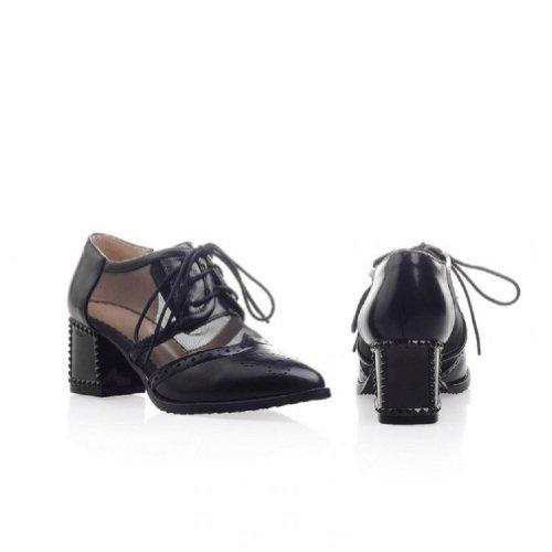 Hoge Hak Oxfords Schoenen Dames Zwart Dames Hoge Hak