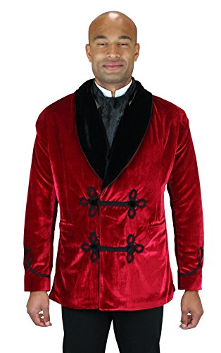 Historical Emporium Men's Vintage Velvet Smoking Jacket S Red -