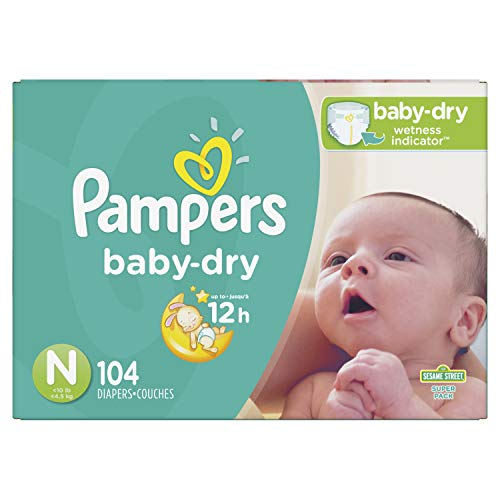 Diapers Newborn / Size 0 (< 10 lb), 104 Count - Pampers Baby Dry Disposable Baby Diapers, Super Pack (Packaging May Vary)