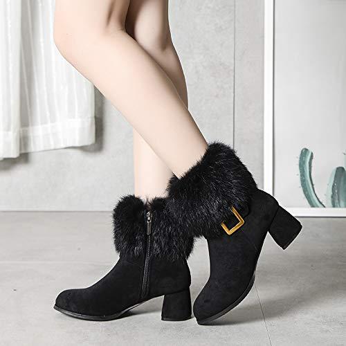 Shukun Stiefeletten Frauen Stiefelies Frauen Flache Schneeschuhe Frauen Kurze Stiefel Kinder Herbst Und Winter Zwei Baumwolle Schuhe Frauen Stiefel