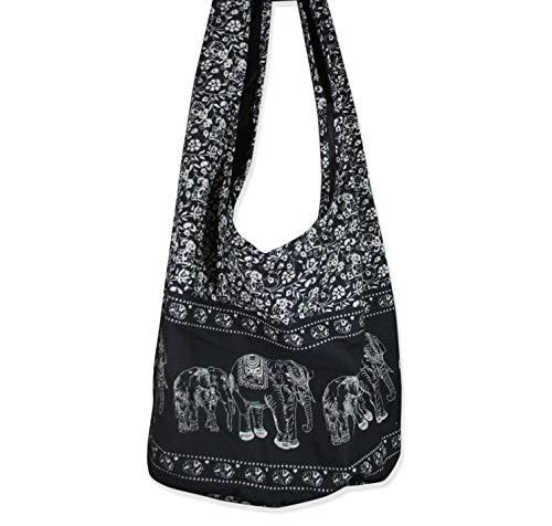 (Thai Hippie Bag Elephant Sling Crossbody Bag Purse Thai Top Zip Handmade Black)
