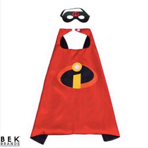 Bek Brands Childrens Superhero Costume Cape and Mask Sets (Incredibles) -