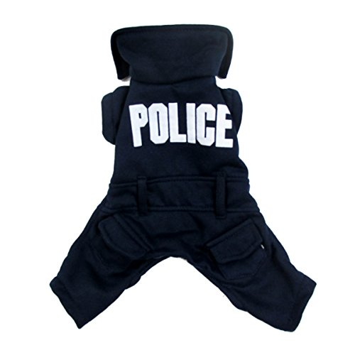 Dog Fancy Dress Costumes Christmas (CLOVER Police Style Spring Autumn Halloween Christmas Santa Cosplay Suit Fancy Dog Cat Puppy Jumpsuit Costume - Large)