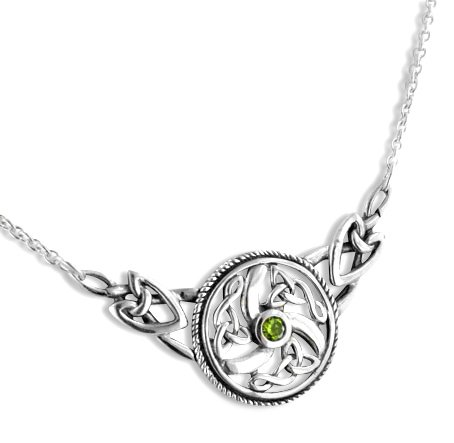 Sterling Silver Swirled Celtic Knot Round Green Peridot 17