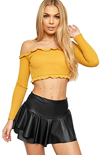 2 Button Stretch Skort (WEARALL Women's Wet Look Pu Stretch Elasticated Frill Hot Pants Shorts Skort - Black - US 2 (UK 6))