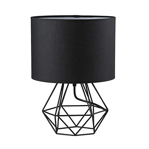 Modern Vintage Style Table Lamps - FRIDEKO Ecopower Minimalist Bedside Lamp Night Light Hollowed Out Cage Shape Base with Fabric Shade Desk Lighting Fixture for Bedroom Living Kids Room, Black-Black
