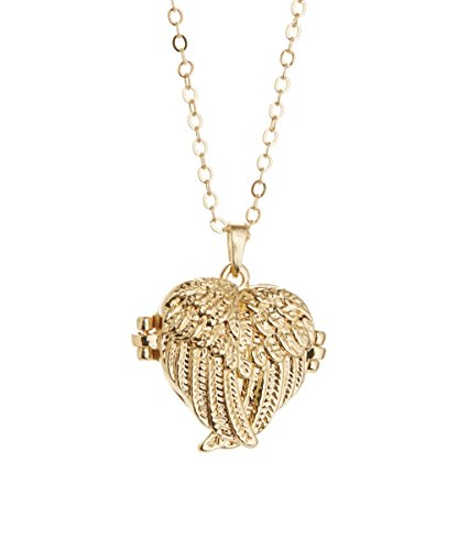 14k Gold Heart Pendant Necklace (Crossed Angel Wings Gold Heart Locket Necklace 14k Gold Plated)